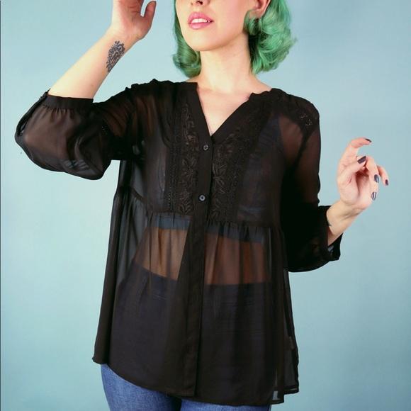 LC Lauren Conrad Tops - Sheer Black Boho Top